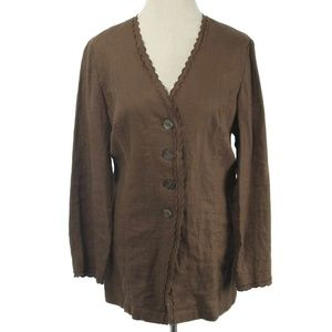 J. Jill Brown 100% Linen Scallop Edge Tunic Jacket